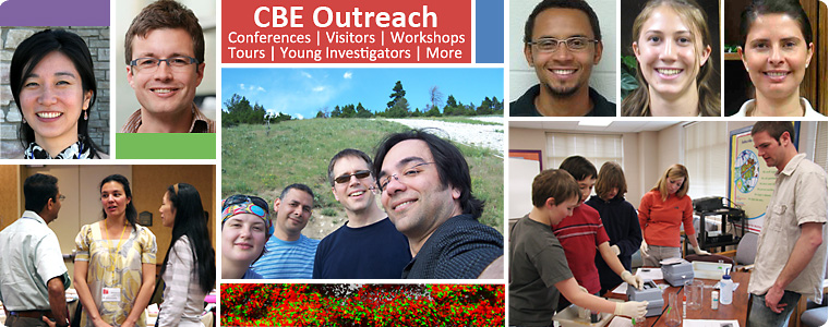 A picture collage of CBE visitors and researchers
